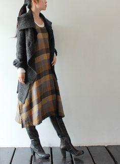 Plaid shift, Wool draped cardigan and boots - nice!