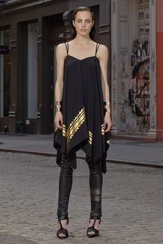 SB47 | Resort 2015 | 13 Black/gold strappy tunic and black leather trousers