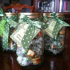 St. Patrick's Day marketing gift. Use mason jars with free printable. Fill with green peppermints and Reese's as the pots of gold! (I give a lot of jars of holiday candy like this...people really love it & it's very inexpensive if you mix cheap candy, like the mints, with smaller amounts of chocolate treats!)