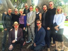 Avengers: Age of Ultron cast   (James, Chris, Jeremy, Mark, Scarlett, Chris, Robert, Cobie, Aaron, Paul, Elizabeth)