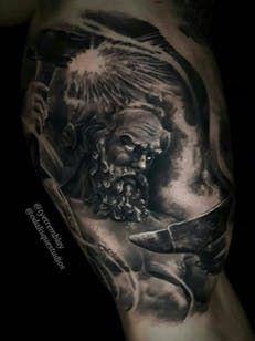 Hephaestus Greekmythology Blacksmith Blackandgrey Realism Greek Mythology Tattoos Tattoos God Tattoos