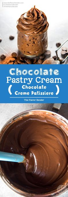 Chocolate Creme Patissiere (Chocolate Pastry Cream) - a rich, creamy custard wi. Chocolate Creme Patissiere (Chocolate Pastry Cream) - a rich, creamy custard with deep chocolate flavor, that can be Brownie Desserts, Oreo Dessert, Mini Desserts, Chocolate Desserts, Easy Desserts, Cake Chocolate, Baking Desserts, Chocolate Custard Recipes, Chocolate Filling For Cake