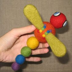 Rainbow Dragonfly needle felted wool rattle toy by roommate, $38.00