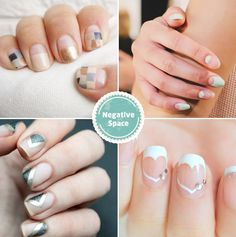 Negative Space Wedding Nail Art / http://www.deerpearlflowers.com/wedding-nails-you-must-see/