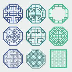 Illustration about Korean old of Window Frame Symbol sets. Korean traditional Pattern is a Pattern Design. Illustration of plaid, grating, korea - 39084480 Korean Design, Asian Design, Chinese Design, Chinese Element, Chinese Art, Chinese Style, Korean Art, Asian Art, Chinese Patterns