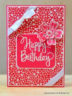 """2016  Another """"Simple"""" Card  USING Brights Designer Series Paper Stack138434  $22.00, Brights 12"""" X 12"""" (30.5 X 30.5 Cm) Cardstock131186   $11.00 ,  Stylized Birthday Wood-Mount Stamp Set141828  $10.00 ,  Flower Shop Clear-Mount Stamp Set130942 $18.00 ,  Pansy Punch  130698  $16.00"""