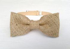 Burlap bow tie  men's rustic bow tie  handmade by KristineBridal, $32.27