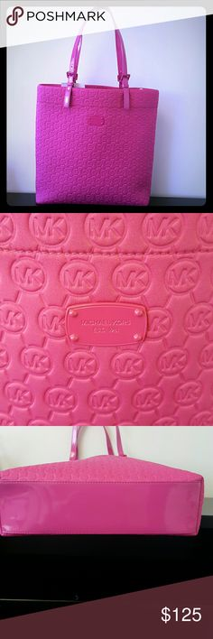 """NWT AuthenticMichael Kors Jet Set Zinnia Pink Tote Brand new never used purchased for $158.00 Bag depth: 4"""" Strap drop: 8-9.5"""" Bag height: 15"""" Bag Lenght: 13.5"""" Material: neoprene  Interior is beige suede Michael Kors Bags Totes"""