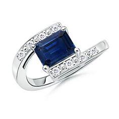 : Emerald Cut Sapphire Round Diamond Bypass Ring in 14k White Gold: Angara