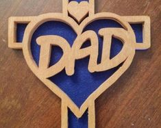Reduced - Hand Made, Wooden Scroll Sawed - Show your Love and Hearts Cross ( Scroll Saw, Symbols, Unique Jewelry, Handmade Gifts, Projects, Cricut, Crafts, Etsy, Kid Craft Gifts