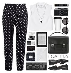 loafers // monochrome by rosemarykate on Polyvore featuring Monki, French Connection, Topshop, The Cambridge Satchel Company, House of Harlow 1960, Yves Saint Laurent, Forever 21, NARS Cosmetics, Sagaform and loafers