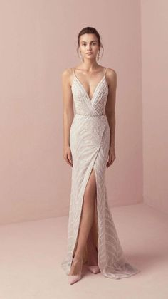 Tali & Marianna 2018 Wedding Dresses – The One Bridal Collection dress # … dress The post Romantic wedding dress idea – deep wedding dress with V back, lace details and appeared first on Woman Casual - Wedding Gown Dream Wedding Dresses, Bridal Dresses, Bridesmaid Dresses, Prom Dresses, Formal Dresses, Wedding Dress Sheath, Lazaro Wedding Dress, Embelished Wedding Dress, Evening Dresses