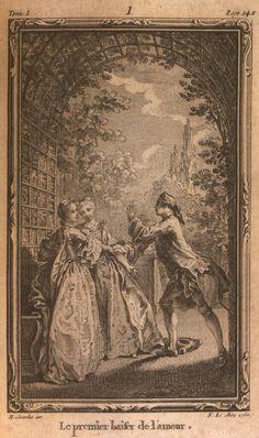 Le premier baiser de l'amour, dessiné par Gravelot, gravé par N. Le Mire. Illustration pour La Nouvelle Héloïse, Volume I, par Jean-Jacques Rousseau