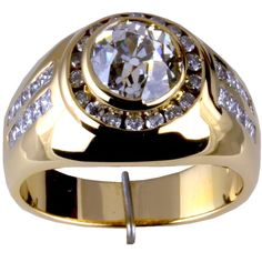 14KT MENS DIAMOND RING 3.33 CT