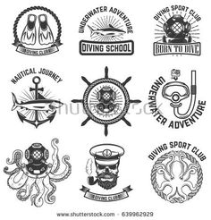 Set of scuba diving club emblems. Design elements for logo, label, emblem, sign. Vector illustration