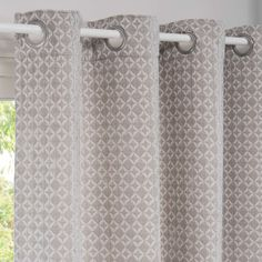 Grey and White Eyelet Curtain with Graphic Print on Maisons du Monde. Beige Eyelet Curtains, Tie Top Curtains, Net Curtains, Hallway Furniture, Small Furniture, Curtains Ready Made, Coat Hanger Hooks, Sun Lounger Cushions, Home
