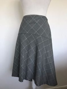 66c026d26b Isaac Mizrahi Skirt Womens size 16 Gray Plaid with Silver High Low Hem  #1021 #