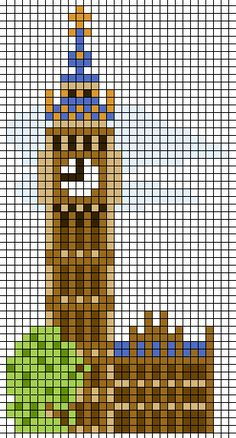 Big Ben London - hama perler beads or cross stitch or minecraft Minecraft Designs, Minecraft Creations, Minecraft Pixel Art, Minecraft Crafts, Cross Stitch Love, Cross Stitch Designs, Cross Stitch Patterns, Cross Stitch Animals, Hama Beads Design