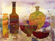 Bottles and Bowls. Collage and Mixed Media. GLYN OVERTON.