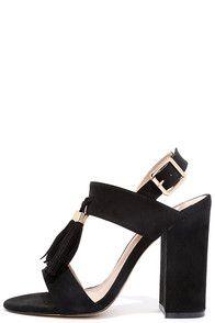 Natural Performer Black Suede Tassel Heels at Lulus.com!