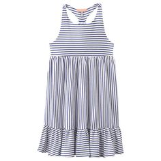 BuyLittle Joule Girls' Striped Jersey Midi Dress, Blue/White, 3-4 years Online at johnlewis.com
