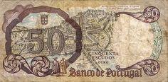 Reverso do antigo papel-moeda de Portugal (50 escudos portugueses). Before the Euro