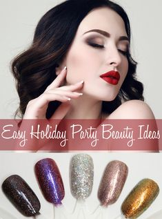 Easy Holiday Party Beauty Ideas. Phyrra shares quick tips for how to bring together your holiday look with glitter or metallics. Try glitter liner, metallic eyeshadow, a smoky eye, shimmering ruby lips, holographic tips, and more!