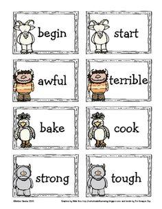 """where the wild things are"" themed synonym activity pack. Synonym Activities, Learning Activities, Family Fortunes Game, Preschool Curriculum, Kindergarten, Reading Motivation, Literacy Programs, Binder Organization, Kids Behavior"