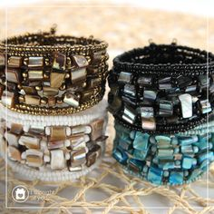 Get up close and personal with our Persa Cuff made with glass beads and smoothed shell chips.