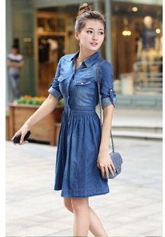 2015 Summer Style Denim Dress Vestidos Femininos Plus Size Women Clothing Feminine Jeans Dresses Blue Denim Dress, Jeans Dress, Dress Skirt, Shirt Dress, Womens Denim Dress, Denim Dresses, Denim Outfits, Blue Dresses For Women, Girls Dresses