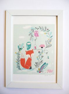 Poster, Fox and friends, Art print for the home - Yolande Six