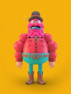Illustrations by El Grand Chamaco - Inspiration Grid Character Modeling, 3d Character, Character Concept, Character Design, 3d Modeling, Cinema 4d, Grid Design, Web Design, Design Art