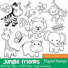 Jungle Friends Digital stamps Clipart by pixelpaperprints For Your Party, Free Coloring Pages, Photoshop Elements, Embroidery Patterns, Felt Patterns, Ribbon Embroidery, Machine Embroidery, Baby Boys, Creations
