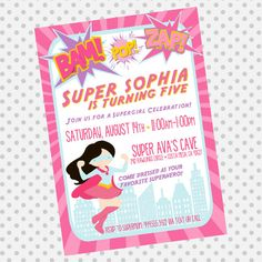 Custom Supergirl Birthday Invite - Superhero Invitation - super hero for girls - Party Supplies on Etsy, $12.00