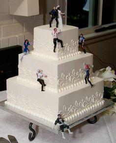 The Zombie Wedding cake topper Zombie Wedding Cakes, Halloween Wedding Cakes, Themed Wedding Cakes, Zombie Cakes, Cake Wedding, Wedding Cake Designs, Wedding Cake Toppers, Walking Dead Cake, Our Wedding