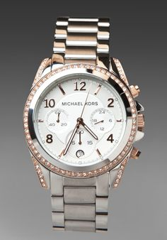MK silver watch with crystals