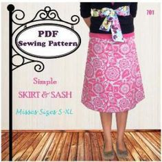 Simple Skirt & Sash | Sewing Pattern |  YouCanMakeThis.com