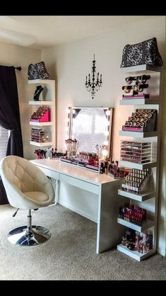 I have a vanity and trying to decide how I want to decorate it. I have to much make up and hair supplies I can't even to begin to organize it all!
