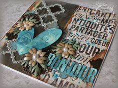 Pushing the Right Buttons - Words, words, words at Frilly and Funkie using Prima, TH/Ranger and Sizzix products; May 2014