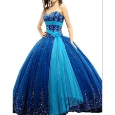 Heartgown® Royal Blue Ball Gown Quinceanera Applique Beads Sweet... ($163) ❤ liked on Polyvore featuring dresses, beading dress, blue dress, royal blue beaded dress, applique dress and blue beaded dress