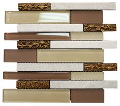 """Glossy Light and Dark Brown & White Porcelain with Metal Flower Modern Vintage Glass Mosaic Tiles Sheet Size: 13 3/8"""" x 11 3//4"""" x 3/8"""" Tile Size: Random Brick Type: Glass, Stone, Porcelain Finished: Glossy, Brushed, Honed HTCSJ1"""