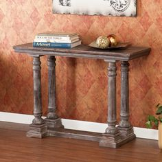 @Overstock.com - Asbury Console/ Sofa Table - This Asbury console sofa table features a weathered gray finish and the beautiful grain of fir wood. The weathering process and wood grain give each table a truly unique appearance. The legs are styled after a balustrade and include beautiful detailing.  http://www.overstock.com/Home-Garden/Asbury-Console-Sofa-Table/7925645/product.html?CID=214117 $198.89