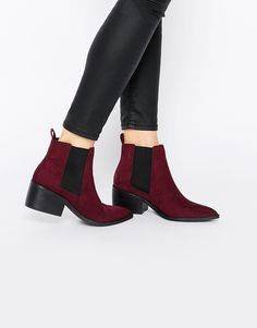 Asos burgundy chelsea boots