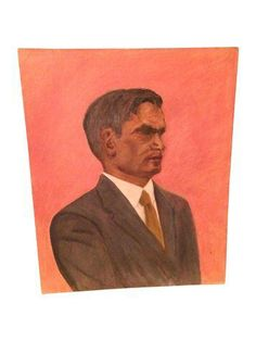Vintage Peach & Grey Suited Up Man Oil Painting on Chairish.com