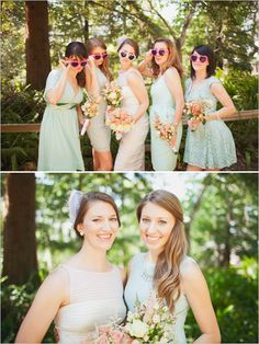 mint green bridesmaid dresses with heart sunglasses #bridesmaids #mint http://www.weddingchicks.com/2013/11/06/santa-barbara-museum-of-natural-history/