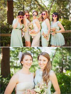 mint green bridesmaid dresses with heart sunglasses #bridesmaids #mint http://www.weddingchicks.com/2013/11/06/santa-barbara-museum-of-natural-history/