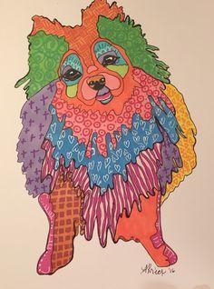 doodled pomeranian. ann krier. whimsyville