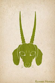 Horned Dachshund - Dachshund with the horns of an oryx. Scanned linocut print. Zoomorph animal hybrid available as a gift card or t-shirt