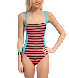 The back on this one is really what makes it for me. Color in the front and plain black and white stripes in the back - TYR Stripes Deep V Back One Piece