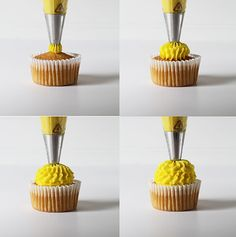 four cupcake decorating techniques using a large french star tip cucpakes cupcakedecorating pipingtutorial - Cupcake Decorating